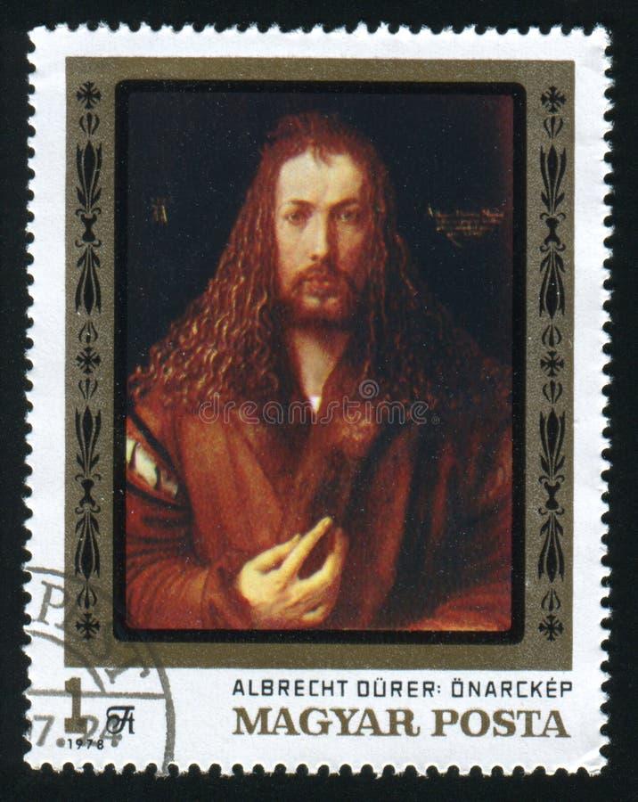 HUNGRIA - CERCA DE 1978: Um selo postal impresso na Hungria mostra Albrecht Durer de pintura, cerca de 1978 fotos de stock