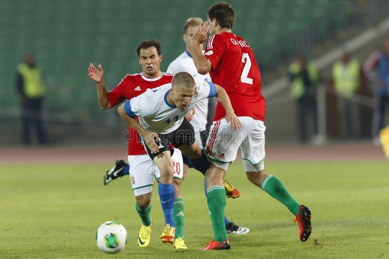 Hungria contra o fósforo do qualificador do campeonato do mundo de Estônia foto de stock royalty free