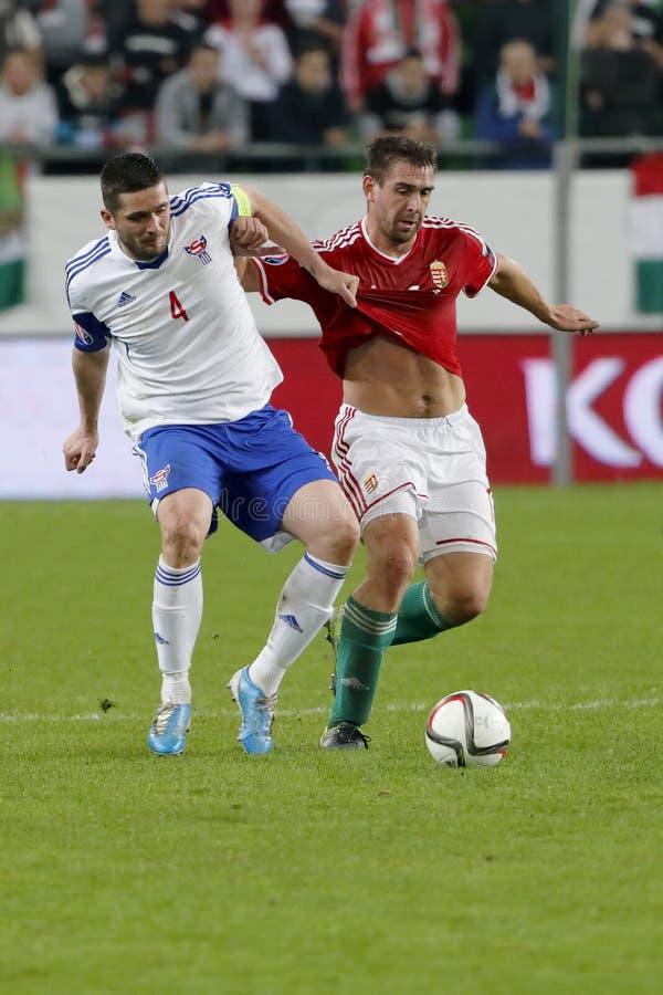 Hungria contra Países Baixos Matc 2016 do futebol do qualificador do Euro do UEFA de Ilhas Faroé foto de stock royalty free