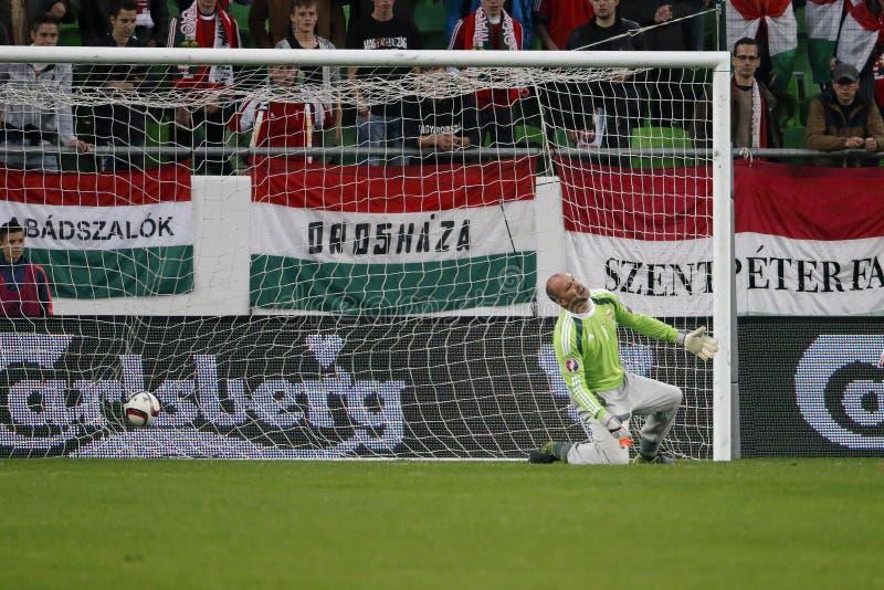 Hungria contra Países Baixos Matc 2016 do futebol do qualificador do Euro do UEFA de Ilhas Faroé fotografia de stock