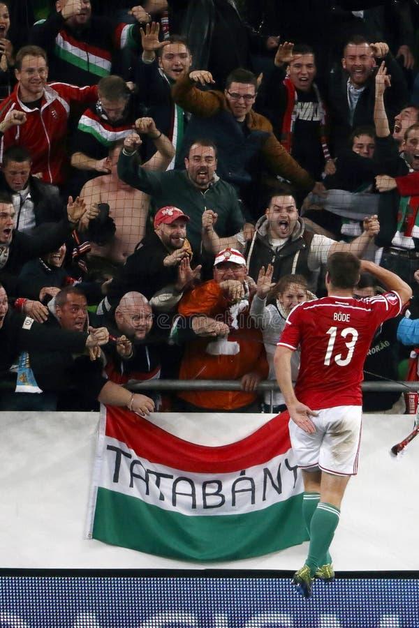 Hungria contra Países Baixos Matc 2016 do futebol do qualificador do Euro do UEFA de Ilhas Faroé imagem de stock royalty free