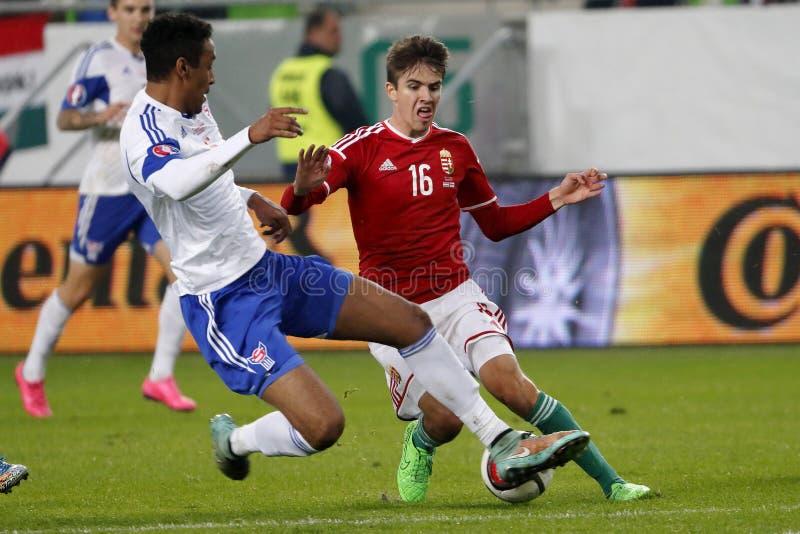 Hungria contra Países Baixos Matc 2016 do futebol do qualificador do Euro do UEFA de Ilhas Faroé imagens de stock royalty free