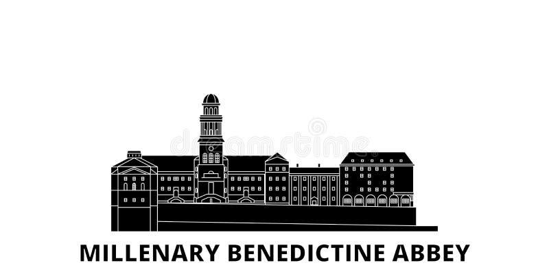 Hungria, grupo liso da skyline do curso da abadia milenária do licor beneditino Hungria, vetor milenário da cidade do preto da ab ilustração stock
