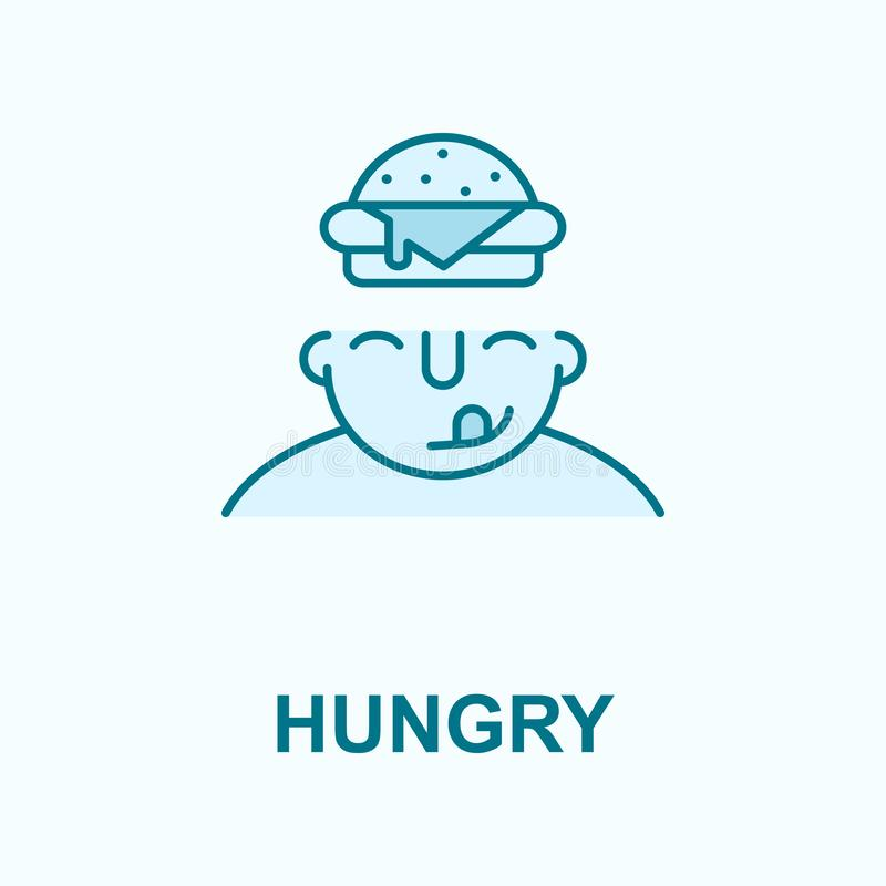 Hungrig auf Sinnesfeld-Entwurfsikone stock abbildung