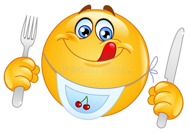 hungrig emoticon royaltyfri illustrationer