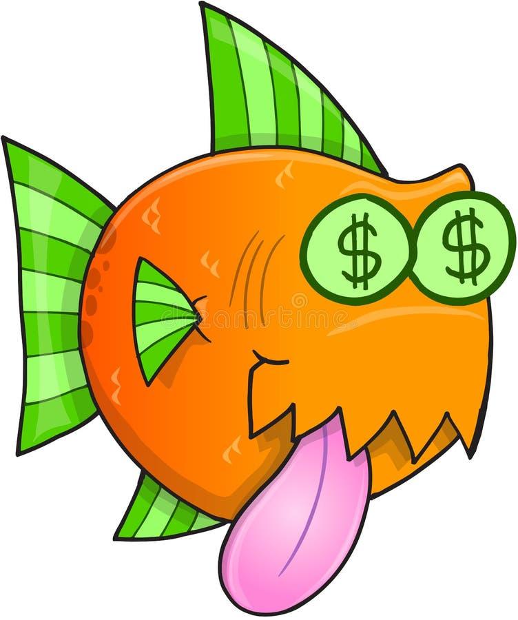 Hungrig fiskvektor för pengar royaltyfri illustrationer