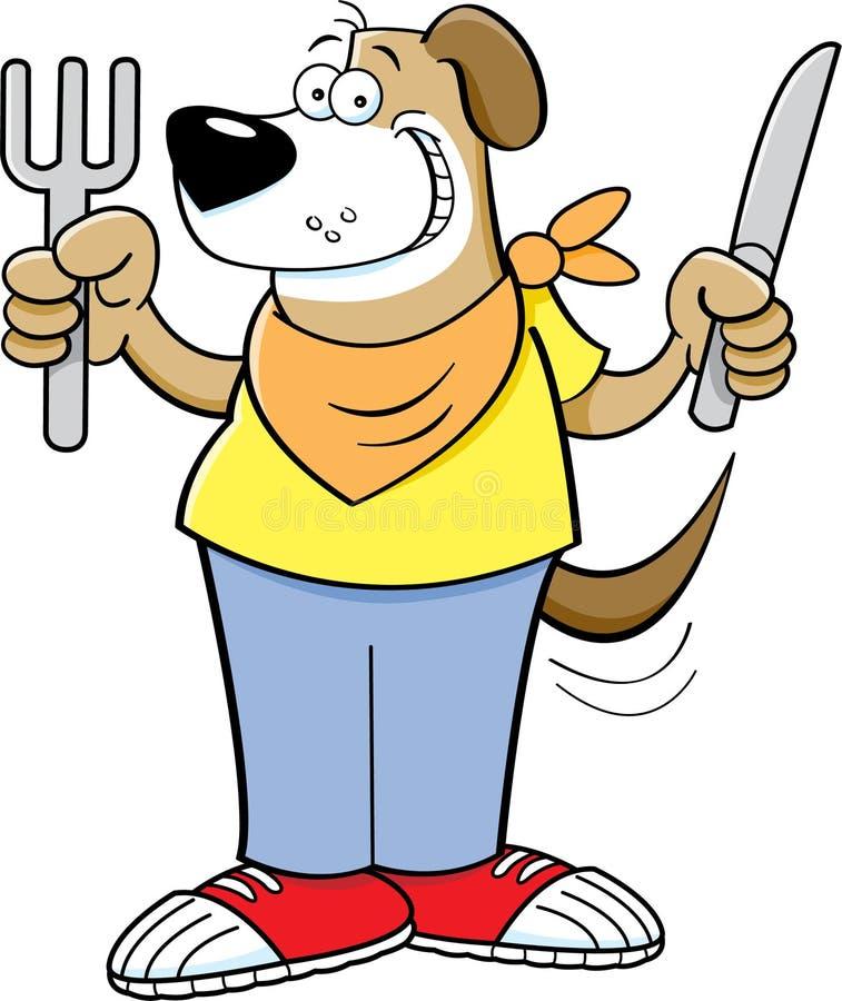 Hungrig hund för tecknad film som rymmer en kniv och en gaffel stock illustrationer