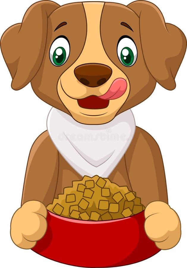 Hungrig hundtecknad film med hundmat stock illustrationer