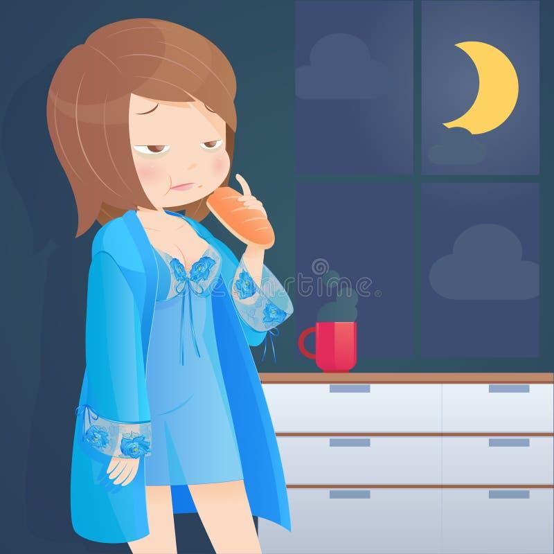 Hungrig kvinna som äter bröd på kök på natten stock illustrationer