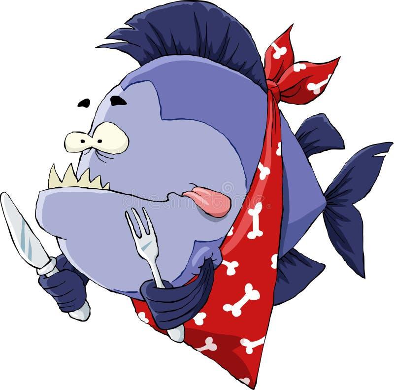 hungrig piranha royaltyfri illustrationer