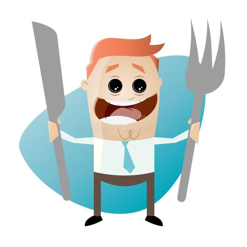 Hungrig tecknad filmman med gaffeln och kniven stock illustrationer