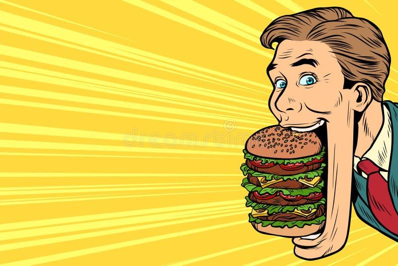 Hungriger Mann mit einem riesigen Burger, Straßenlebensmittel lizenzfreie abbildung