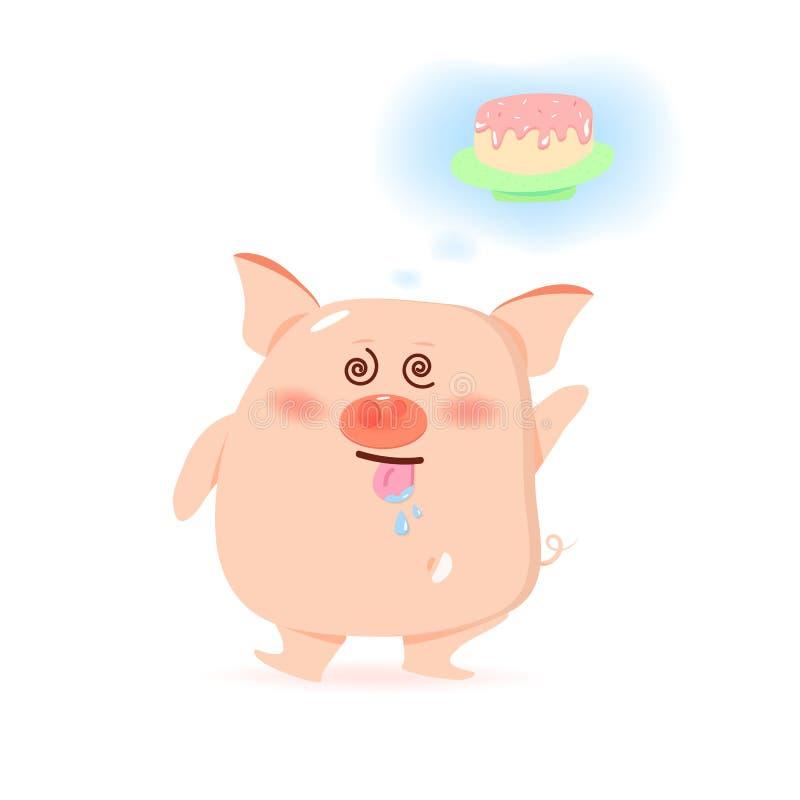 Hungriger süßer Kuchen des Schweins, nette Zeichentrickfilm-Figuren, Chinesisches Neujahrsfest, Jahr des Schweins auf weißer Hint lizenzfreie abbildung