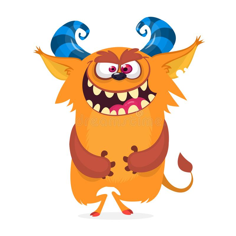 Hungriges Karikaturmonster voll aufgeregt mit Mund von Zähnen lizenzfreie abbildung