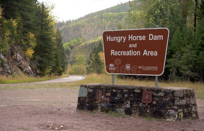 Hungriges Reklamations-Zeichen des Pferdefluch-Erholungsgebiet-USFS stockbild