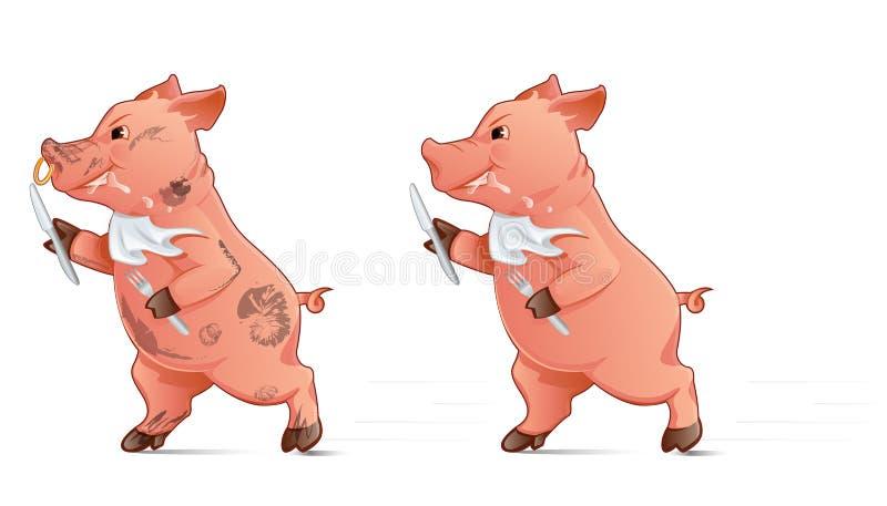 hungriges Schwein lizenzfreie abbildung