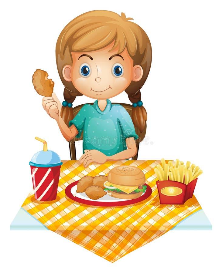 Hungrigt äta för ung flicka stock illustrationer