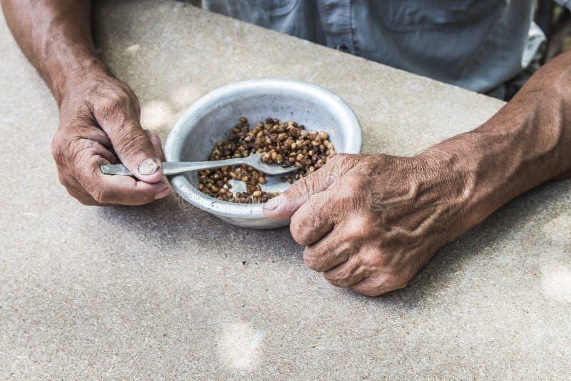 hungrigt Fattig gammal man& x27; s räcker en bunke av havregröt Selektivt fokusera Armod i avg?ng royaltyfri fotografi