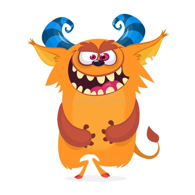 Hungrigt tecknad filmmonster spännande med munnen mycket av tänder royaltyfri illustrationer