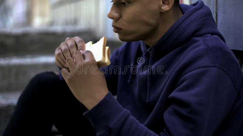 Hungry afro-american teenager eagerly eating sandwich, poor family, crisis. Stock photo royalty free stock photos