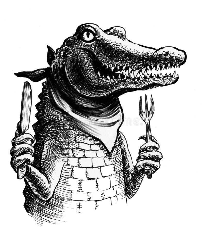 Hungry alligator. Ink drawing of a hungry alligator ready to eat royalty free illustration