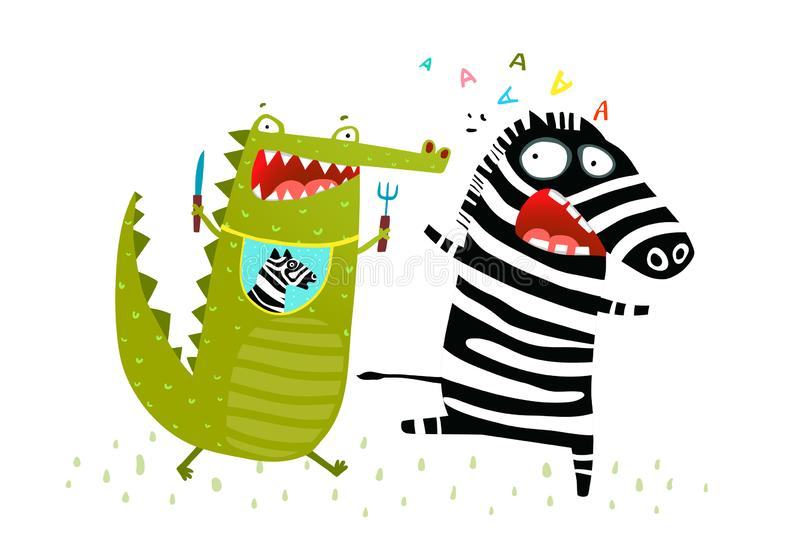 Crocodile Chasing Zebra Funny Run. Hungry Alligator wants to eat Zebra running away. Vector fun cartoon stock illustration