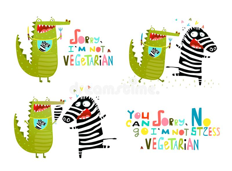 Crocodile and Zebra Fun Vegetarian Cartoon. Hungry Alligator wants to eat Zebra running away. Vector fun cartoon vector illustration