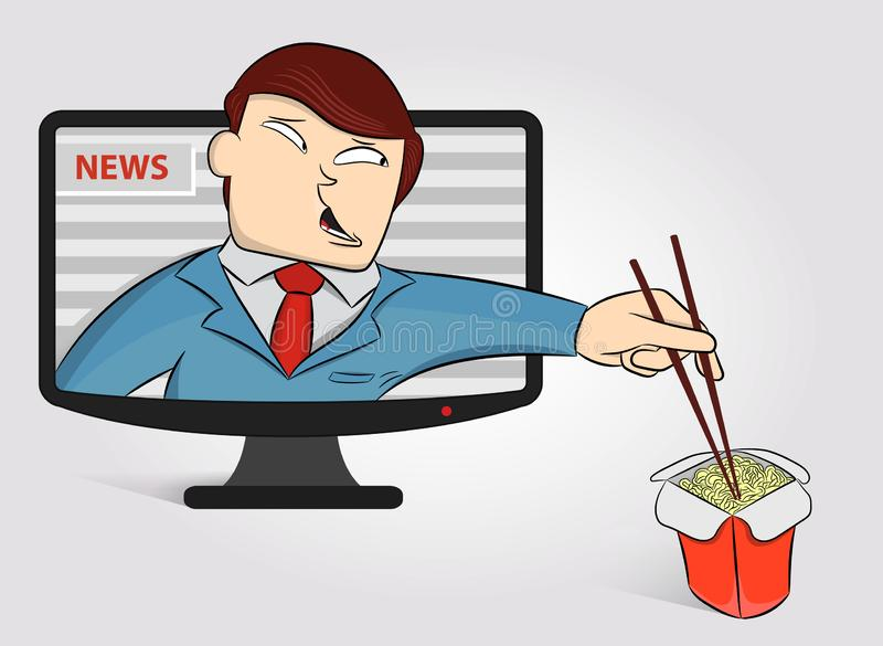 Hungry anchorperson got out of the TV to eat noodles. Funny News Anchor on TV Breaking News background. Male news anchor. Concept vector illustration