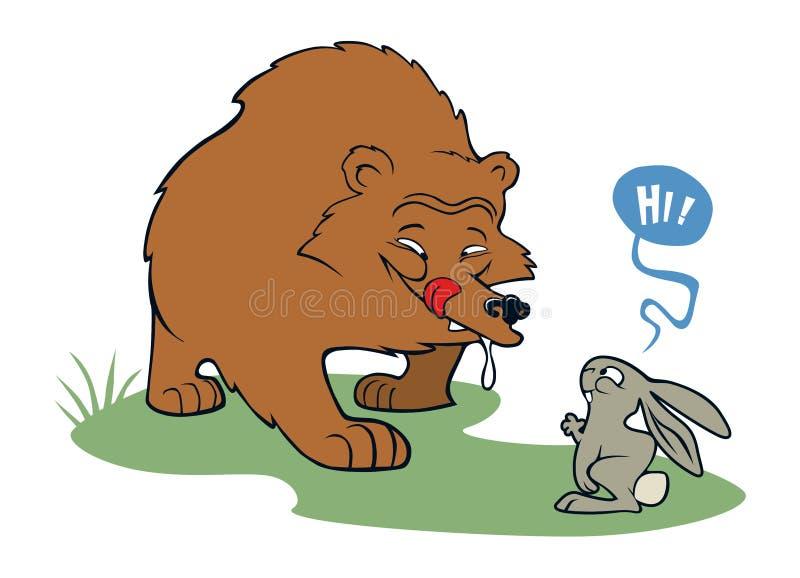 Hungry bear meeting friendly rabbit stock image