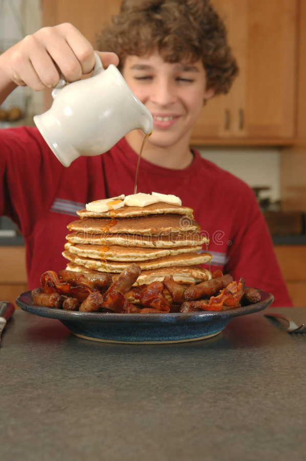 Download Hungry boy stock image. Image of pancakes, counter, smiling - 3491621