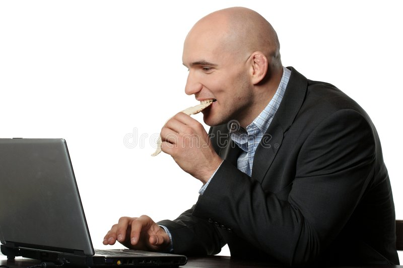 Hungry businessman on a diet stock photo