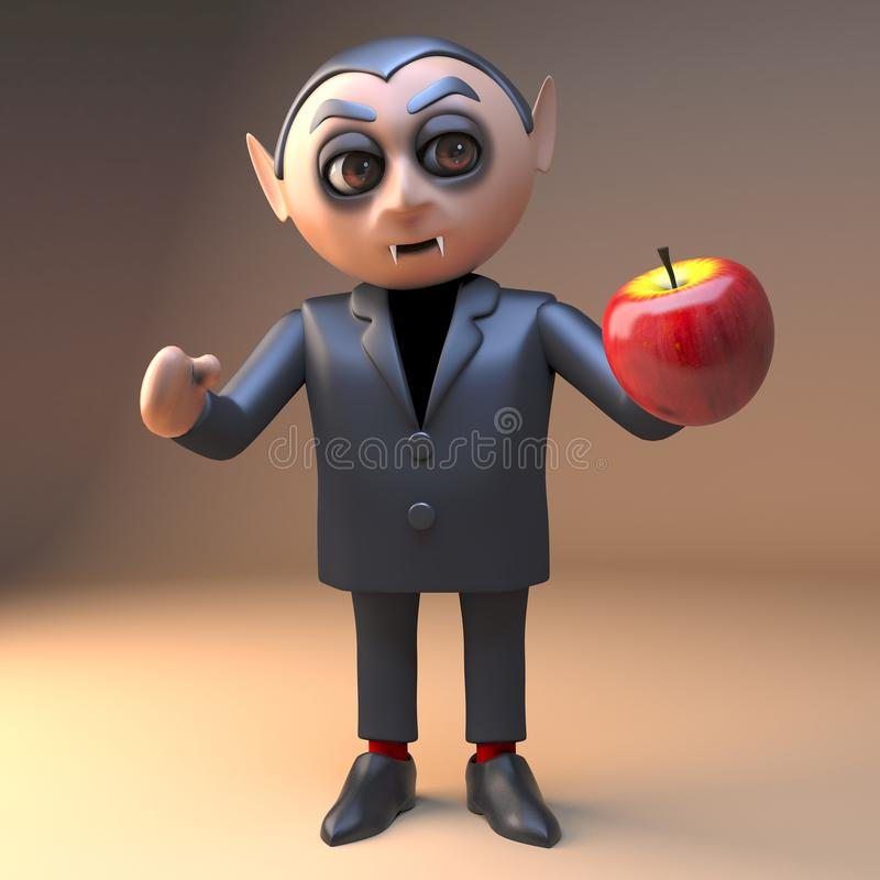 Hungry cartoon vampire dracula prepares to eat a juicy red apple, 3d illustration stock illustration