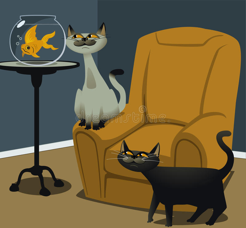 Download Hungry Cats And A Goldfish Royalty Free Stock Photos - Image: 20224688