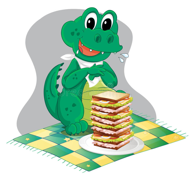 A hungry crocodile in front of a big pile of sandwich. Illustration of a hungry crocodile in front of a big pile of sandwich on a white background stock illustration