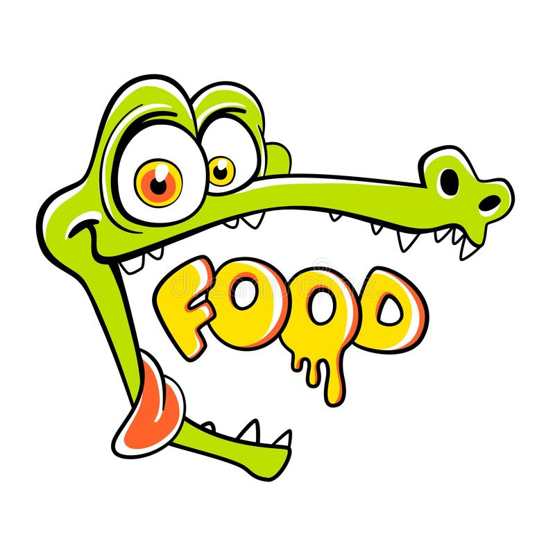 Hungry crocodile with open mouth and empty space, cartoon personage for cafe. The inscription food. Hungry crazy rocodile with open mouth and empty space stock illustration