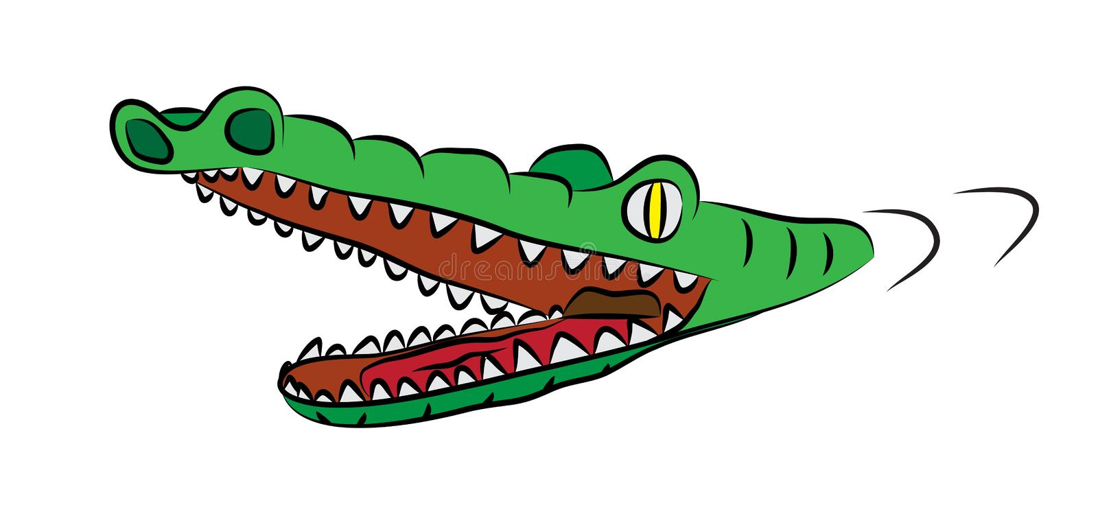 Hungry crocodile with open mouth, full of sharp teeth, swiming in watter.  royalty free illustration