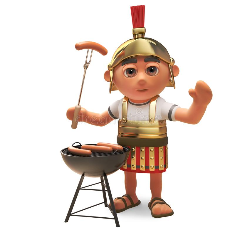 Hungry 3d cartoon Roman legionnaire solder cooking on a barbecue bbq, 3d illustration. Render vector illustration