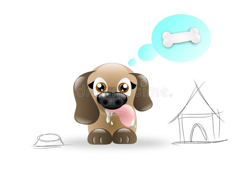Hungry Dog. Cute brown hungry dow with bowl and hut stock illustration