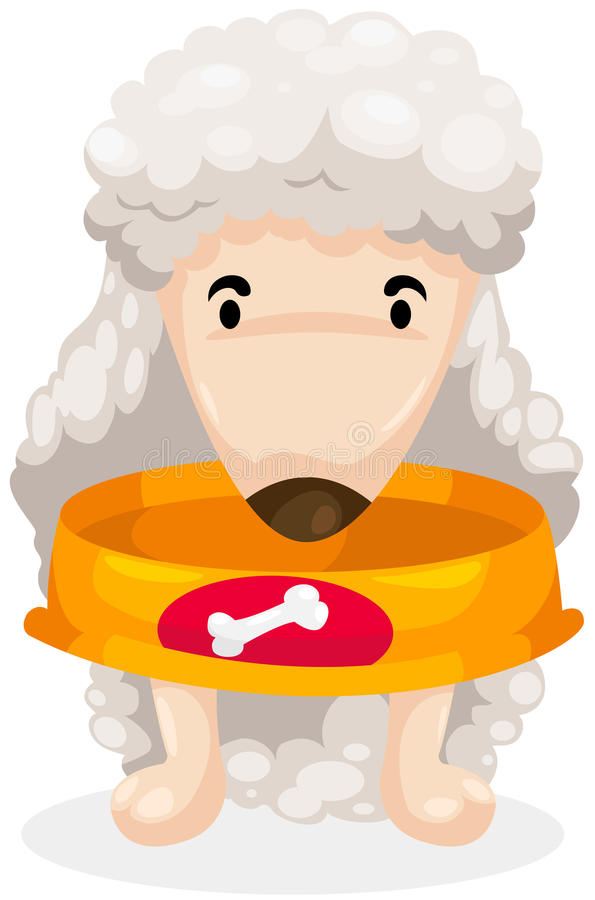 Hungry dog with empty food bowl royalty free illustration