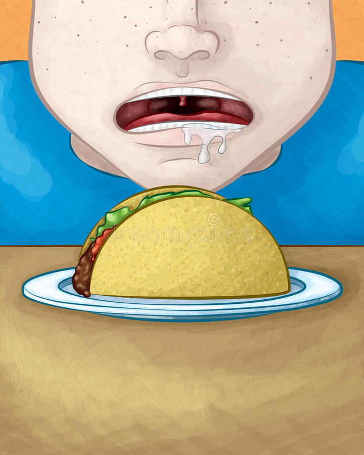 Hungry Face with Taco. A hand drawn vector illustration of a hungry face drooling over a delicious taco royalty free illustration