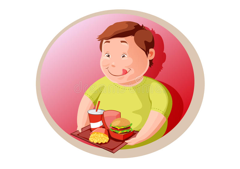 Download Hungry Fat Child  With Junk Food Stock Vector - Illustration: 22684887