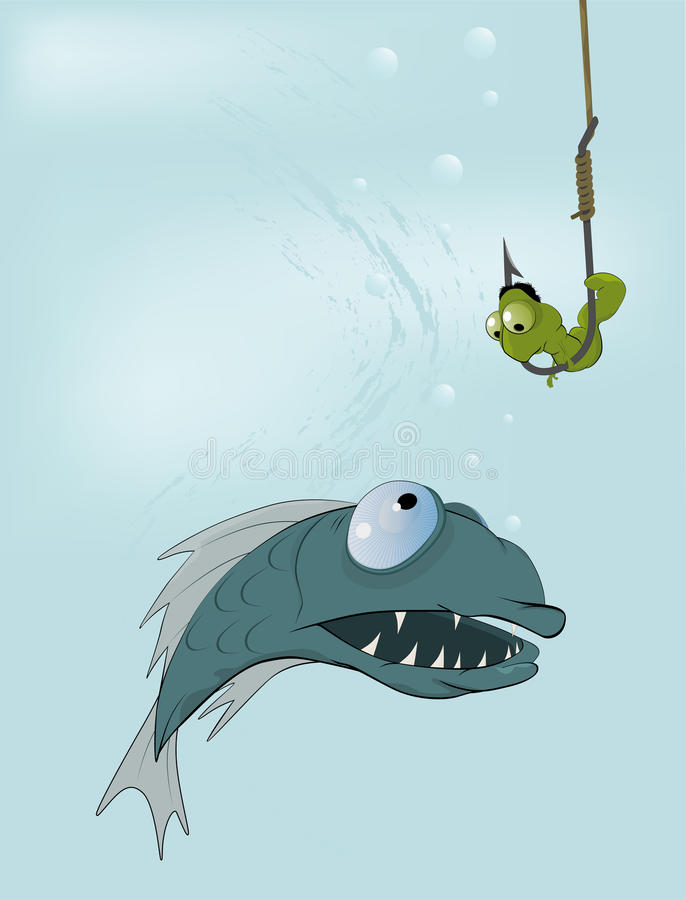 Hungry fish and clever worm vector illustration