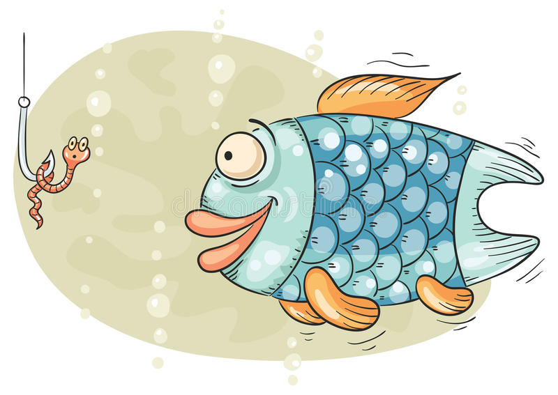 Hungry fish and the worm on hook royalty free illustration