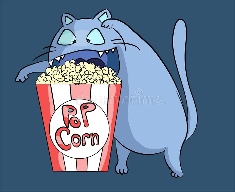 Hungry and funny popcorn cat at cinema preparing to dig into the food. Blue kitty having a snack character illustration. Salt and. Butter stock illustration