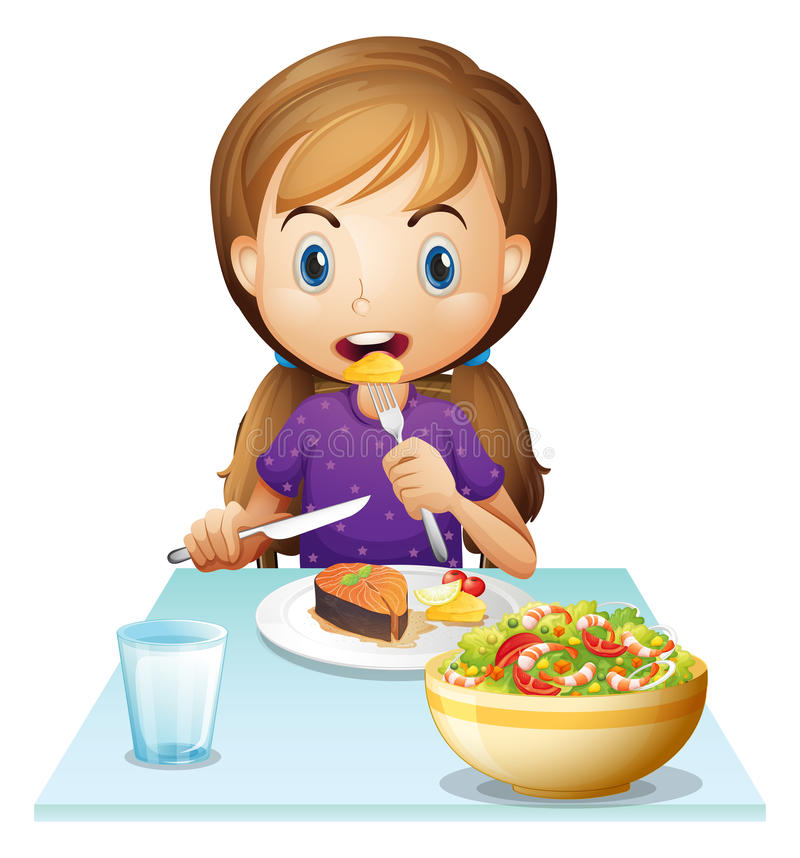 A hungry girl eating lunch. Illustration of a hungry girl eating lunch on a white background royalty free illustration