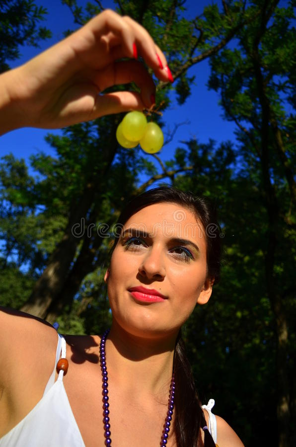 Hungry for grapes stock photography