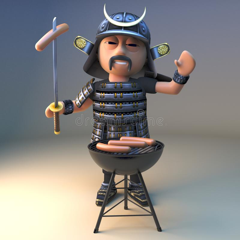 Hungry Japanese samurai warrior cooks sausages on a barbecue bbq, 3d illustration. Render vector illustration