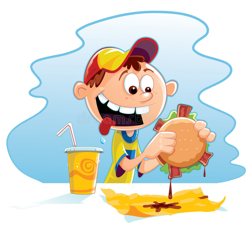 Hungry Kid vector illustration