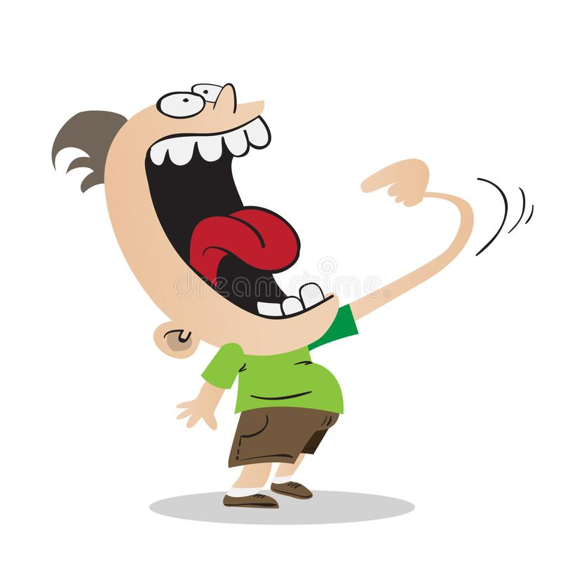 Hungry kid with big mouth stock illustration