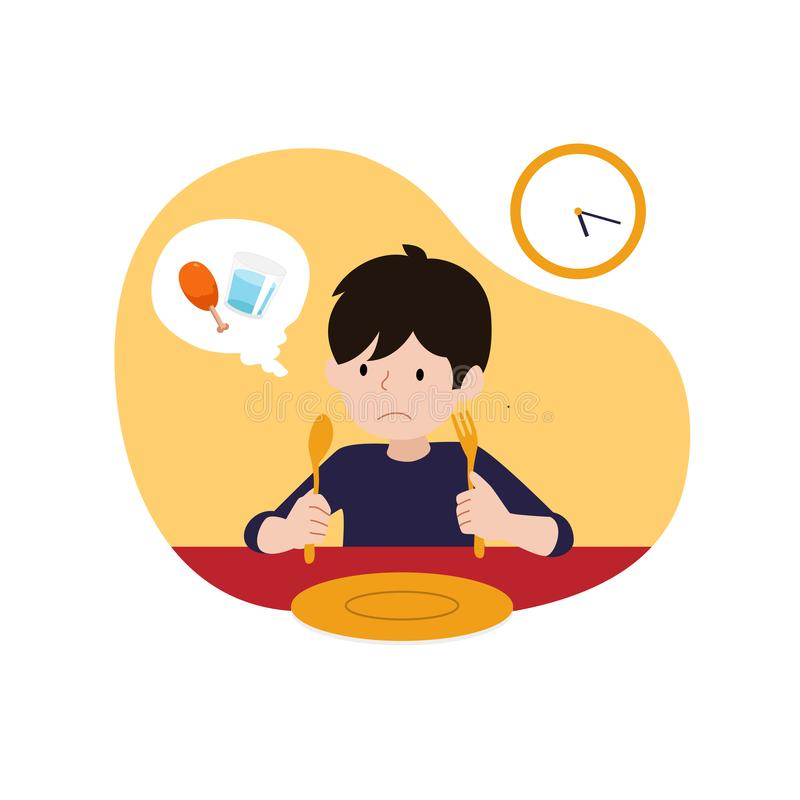 A hungry kid waiting for iftar time or break fasting vector illustration. children`s ramadan activity concept design vector illustration